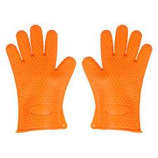 1x Silicone Heat Resistant Oven Mitts Gloves Potholder For Kitchen Baking Orange