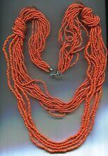 Wie neu, lange+hübsche korallenrot-orange Designer Glasperlen Kette mehr-reihig