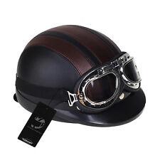 Casco de ABS con Gafas Protección UV Negro Marrón Helmet para Moto Motocicleta