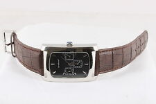 LONDON MENS CALENDAR ANALOG RECTANGLE WATCH W/ BROWN STRAP WORKS  6357