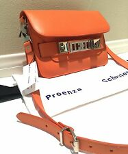 Auth Proenza Schouler Orange Leather PS11 Classic Flap Shoulder Bag $1950