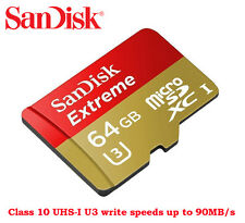 SanDisk 64GB Extreme Micro SD SDXC Class10 UHS-I U3 Card 90MB For Go Pro Hero 4K