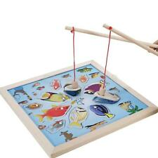 Colorful Wooden Angling Magnetic Fishing Board for Children Kids Game Toys