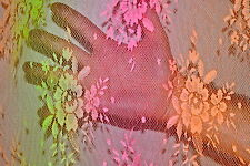 """Printed Bright Neon Stretch Lace Floral Allover 55"""" wide Fabric by the Yard"""