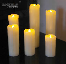 6PC FLICKERING FLAME LED FLAMELESS WAX DRIP EFFECT MOOD CANDLES WITH BATTERIES