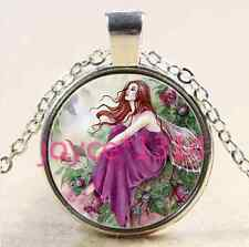 Flower fairy Cabochon Tibetan silver Glass Chain Pendant Necklace &XP-2637