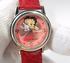 "BETTY BOOP, ""3D"" Floating Heart's, Cute Red Leather Band,Lady's/Kids WATCH, 1147"