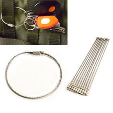 10PCS Stainless Steel Wire Keychain Cable Key Ring for Outdoor Hiking Good Use