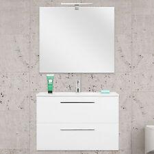 Mobile bagno design 80 bianco laccato lucido specchiera slim chiusura soft-close