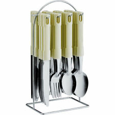24PC STAINLESS STEEL CUTLERY SET WITH FORKS KNIVES SPOONS TEA AND METAL STAND