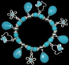 FLOWERS,HEARTS,TEARDROPS turquoise blue CHARM BRACELET faceted bead silver pltd