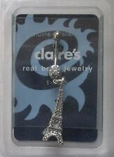 "o Dangle Eiffel Tower charm 14g 3/8"" surgical steel BELLY RING body jewelry"