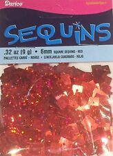 Darice Economy Craft ~ Square Sequins 6mm ~ Red Hologram Metallic Pk/600