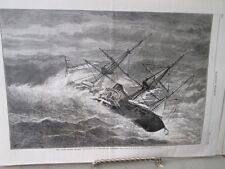 Vintage Print,USS POUHATAN IN CYCLONE,Harpers,1877