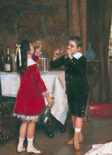 """perfect oil painting """"A girl drinking wine and a boy smoking a cigar """" NO4134"""
