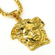 """New Gold Plated Medusa Greek Cuban Link chain Pendant Necklace With 31"""" Chain"""