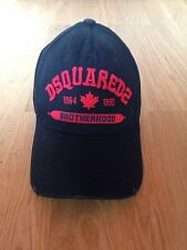 Mens DSQUARED 2 cap in black with distressed detailing on peak