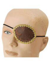 Pirate Eye Patch Brown With Gold Trim Fancy Dress Halloween Buccaneer New Unisex
