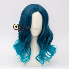 Mixed Blue 40cm Lolita Curly WomenHalloween Fancy Party Anime Cosplay Wig+Cap