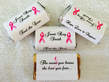 180 BREAST CANCER Candy wrappers/stickers/labels FAVORS for HERSHEY MINIATURES