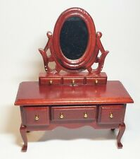 Mahogany Mirrored Dressing Table, Doll House Miniature, 1.12th Scale
