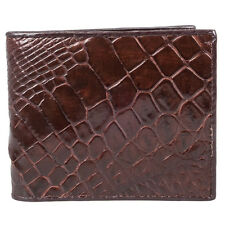 Genuine Crocodile Belly Skin Leather Men Brown Bifold Wallet Purse Fairy-Leather