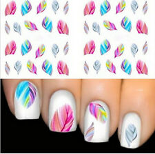 New Rainbow Dreams Colorful Feather Nail Art Sticker Water Transfer Decal