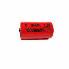 1 Size D 10000mAh Ni-MH 1.2V Volt Rechargeable Battery RED Cell HR20 Flashlight
