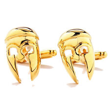 Gold Tone Ancient Greek Spartan Warrior Helmet Mask Cufflinks Cuff Links NIB