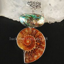 32x70mm Natural Ammonite Fossil New Zealand Abalone Shell  Pendant Bead  C3681