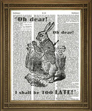 WHITE RABBIT LATE! Alice in Wonderland Vintage Dictionary Art Illustration 10x8""