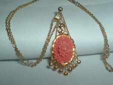 VINTAGE SALMON PINK CELLULOID ROSE FILIGREE GOLD TONE NECKLACE CHAIN IN GIFT BOX