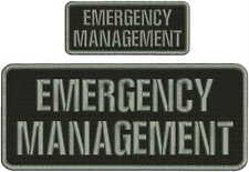 emergency management  embroidery patch 4X10 and 2.x5 hook on back  gray letters
