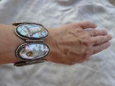 VINTAGE SIGNED DEL RIO EARLY MEXICAN SILVER BOLD RUNWAY ABALONE WIDE  BRACELET