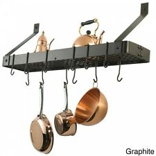 Hanging Pot And Pan Rack Kitchen Bookshelf Style Storage Wall Mount Hooks Steel