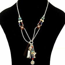 LORD'S PRAYER MESSAGE IN A CORK BOTTLE WITH HEART CROSS FRINGE BEADED NECKLACE