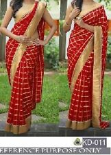 BOLLYWOOD  DESIGNER PARTY WEAR RED COLOR SAREE