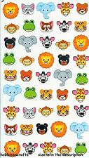 EK SUCCESS STICKO STICKERS - ELEPHANT LION MONKEY TIGER ZEBRA GIRAFFE ZOO FACES