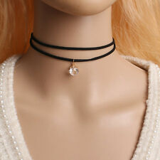 BOHO FAUX SUEDE BLACK DOUBLE RIBBON CHOKER CRYSTAL DROP NECKLACE - UK SELLER