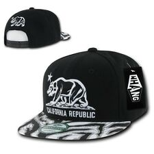 Black California Republic Cali Zebra Print Flat Bill Snapback Snap Back Cap Hat