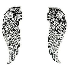 Angel Wings Silver Tone Crystal Big Stud Earrings UK Shop