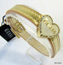 GUESS ??? Jeans Rhinestones  Bangle  Bracelet  Gold Tone Charms Faux leather NWT