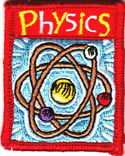 """PHYSICS"" - ron On Embroidered Applique Patch/School, Learning, Research"
