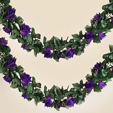 6 ft 3D Purple Chain SILK ROSES Garland Wedding Flowers Bouquets SALE