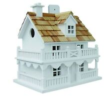 Novelty Cottage Bird House Birdhouse Wren Finch Chickadee Wood Wooden White NEW