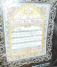 COUNT YOUR BLESSINGS COUNTED CROSS STITCH KIT STAINED GLASS WINDOW