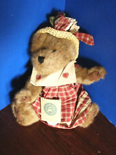 """BOYDS BEARS~14"""" Plush Teddy Bear~PRUDENCE BEARIMORE~With TAGS~Red Dress & Hat"""