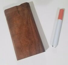 NEW beautiful Handcrafted Wooden Dugout with Aluminum cigarette one hitter pipe