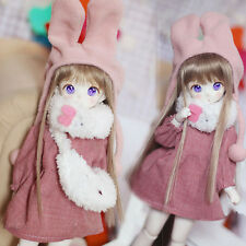 1/6 AS YOSD LATI LUTS BJD Suit/Clothes Lovely Pink Dress+Rabbit Scarf+Hat+Bag