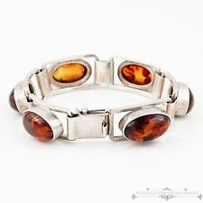 Antique Vintage Deco Sterling Silver Mid Century Retro Baltic Amber Bracelet!
